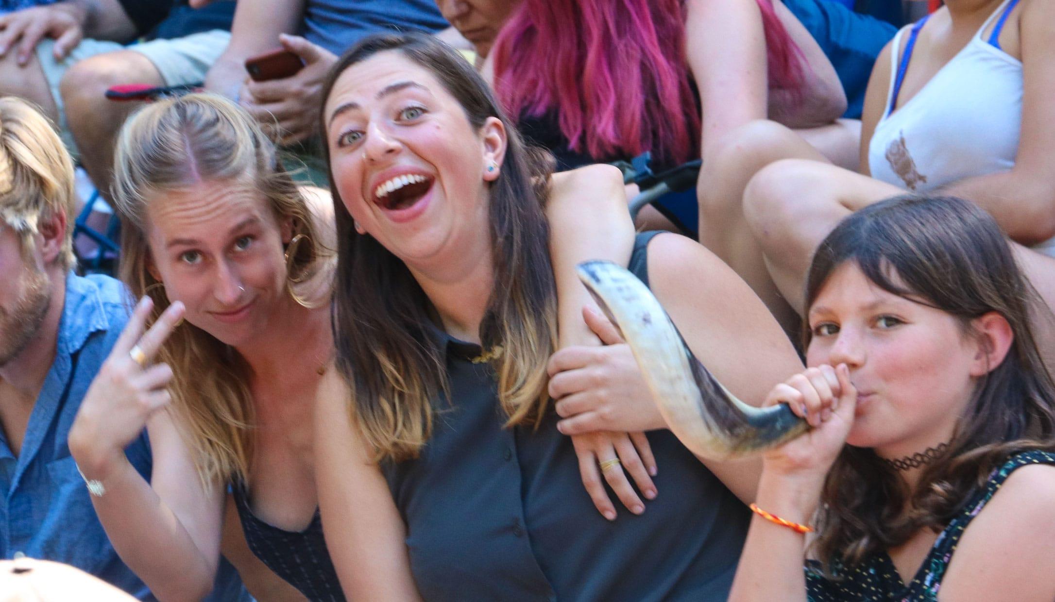 Girls attending a Erev Rosh Hashanah event