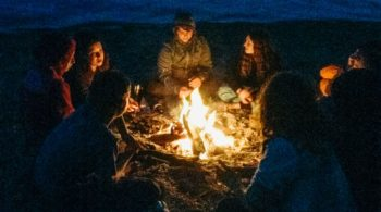 Cozying up by campfire on the Magical Mystery quest