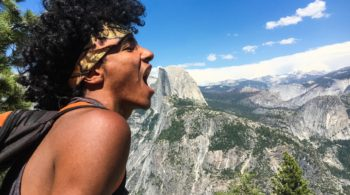 Pretending to eat Half Dome on the on the Magical Mystery quest