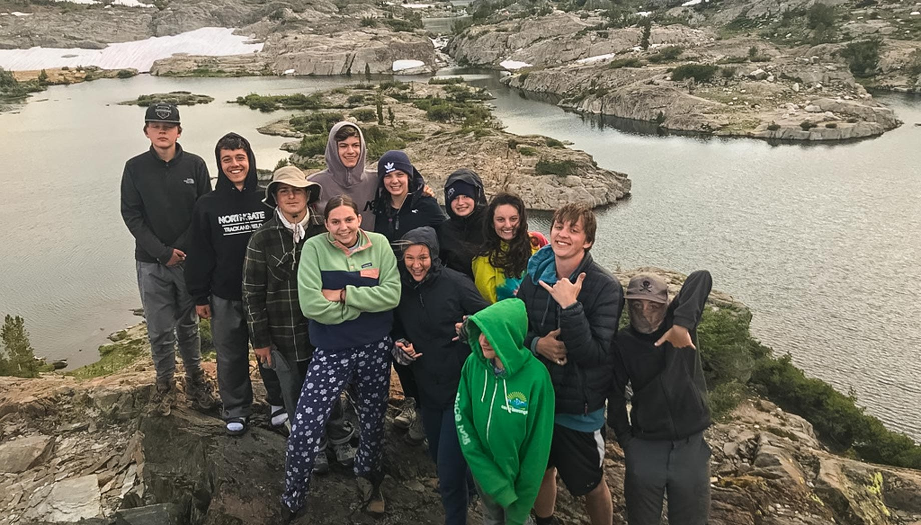 Campers hiking on the Rock and River quest