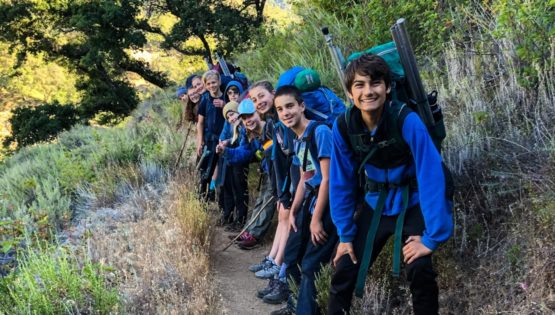 Kids hiking for Surf N' Turf quest