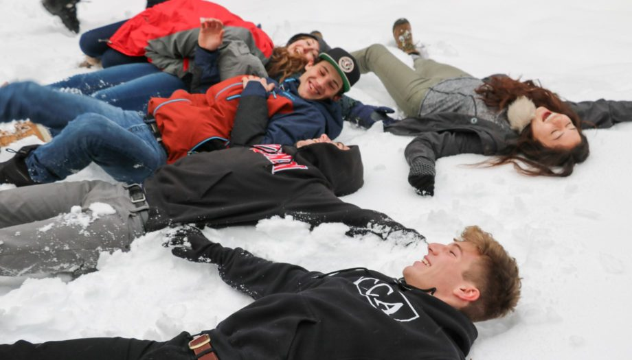 Playing in the snow for Teen Winter Retreat