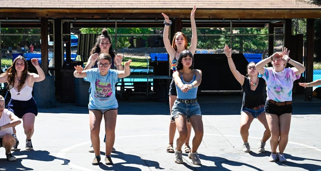 Girls practicing dance routine