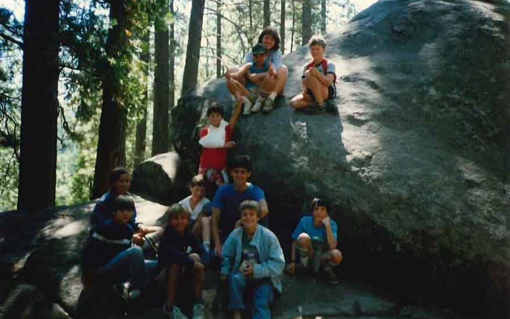 Eleanor Coffman and friends on a rock