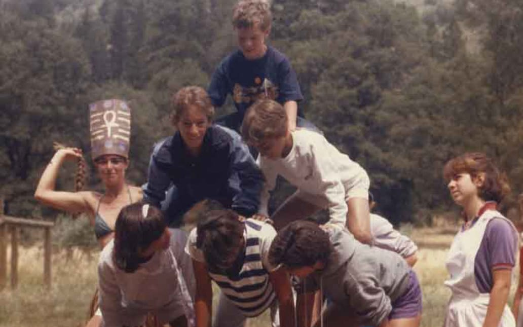 Eleanor Coffman and friends making a human pyramid