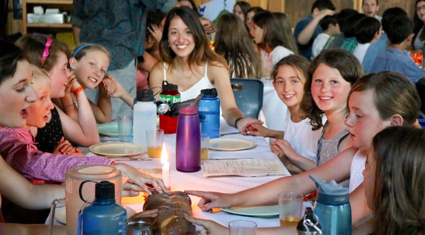 Girls celebrating Shabbat