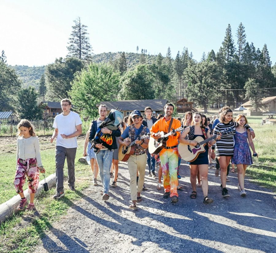 Walking and singing camp songs