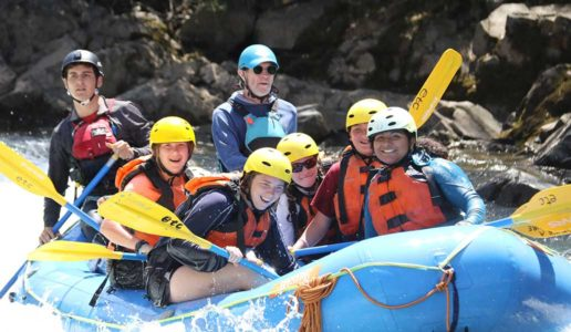 Teens rafting on the Sierra Slam Quest